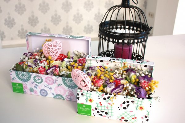 caja de flores variadas de colores
