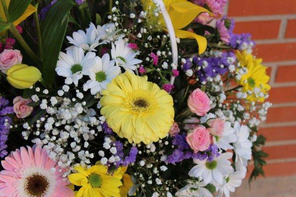 cesta blanca con flores de colores de temporada en Alaquàs