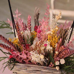 cesta flores secas con asa