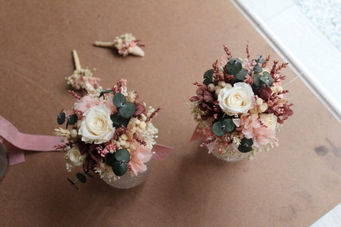 réplicas preservadas de ramo de novia