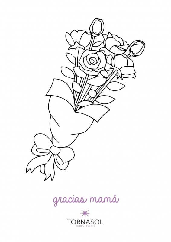 ramo de flores para colorear y regalárselo a la mamá