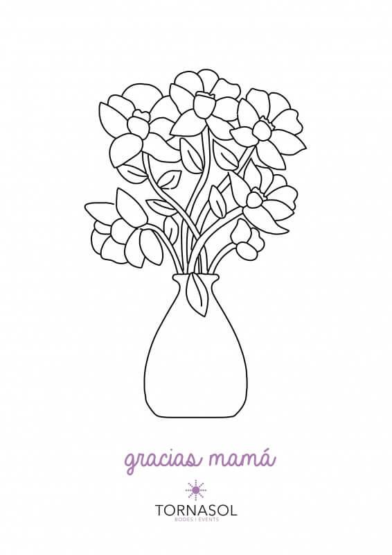 jarrón de flores para colorear y regalárselo a la mamá