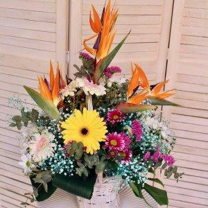 Cesta de flores con aves del paraíso