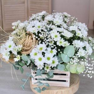 Caja de madera con margaritas blancas para enviar a domicilio en Valencia