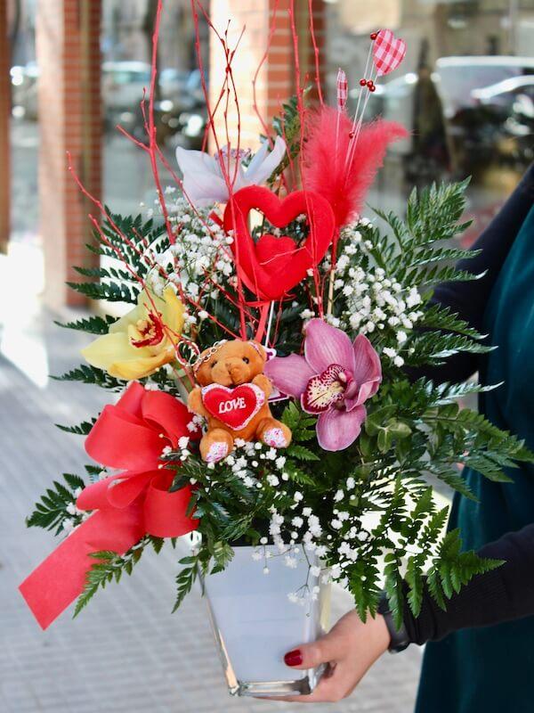 centro de orquideas para regalo de san valen