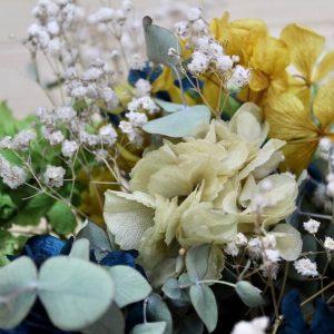 Caja de hortensias preservadas